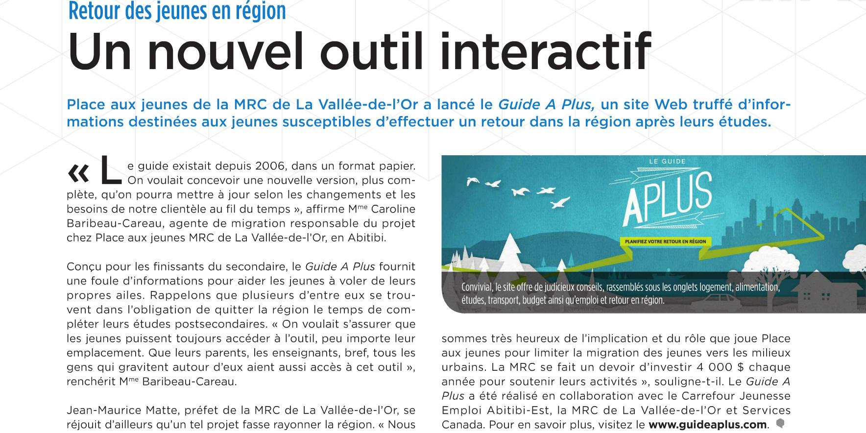 La MRCVO dans le magazine Quorum !