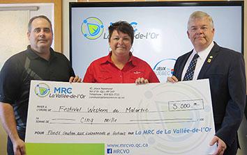 La MRCVO octroie une aide financière de 5 000 $ au Festival Western de Malartic